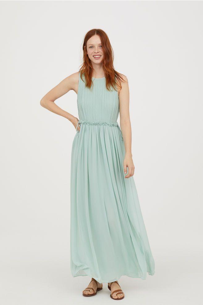 dc01fc9beaee H&M Long Chiffon Dress - Green in 2019 | DB | Chiffon dress long ...