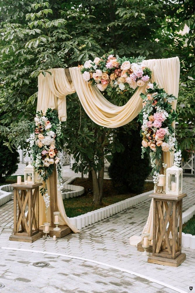 Wedding ceremony decorations with peach cloth …