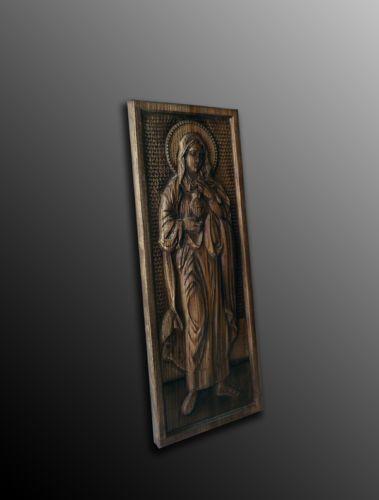 Cuore Immacolato di Maria Bassorilievo inciso in legno pregiato in Arte e antiquariato, Arte sacra, Statuine e presepi | eBay