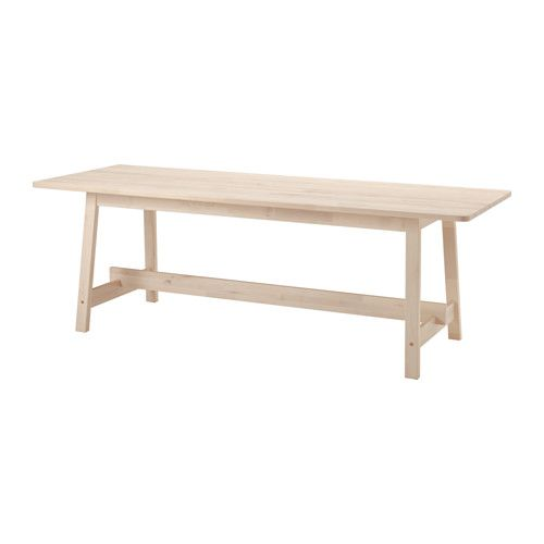 IKEA - NORRÅKER, Table, Durable and hard-wearing; meets the requirements on furniture for public use.Every table is unique, with varying grain pattern and natural colour shifts that are part of the charm of wood.Less risk of children hitting their head as the table has rounded corners.