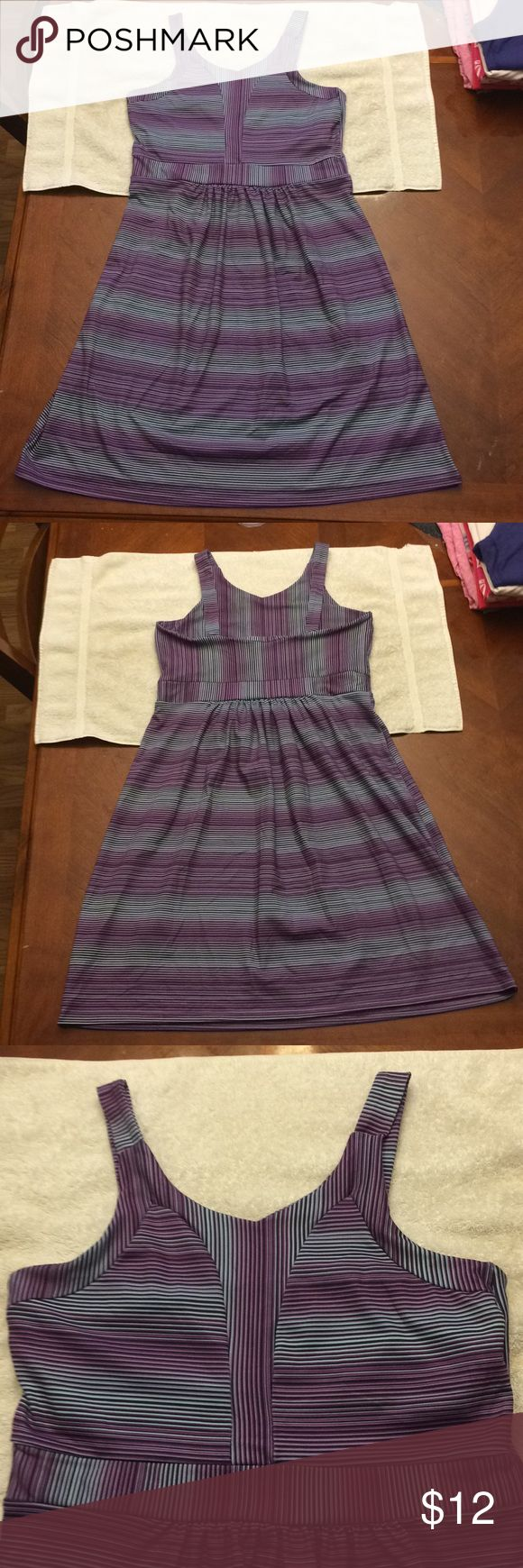 Tehama athletic dress Challenging to photograph, this striped tank style athletic Dress features horizontal stripes in purple, black, and blue. Top has a built-in bra, from top to bottom measures 34 inches. Material is 90% polyester, 10% spandex. EUC, no snags or stains. TEHAMA Dresses Midi