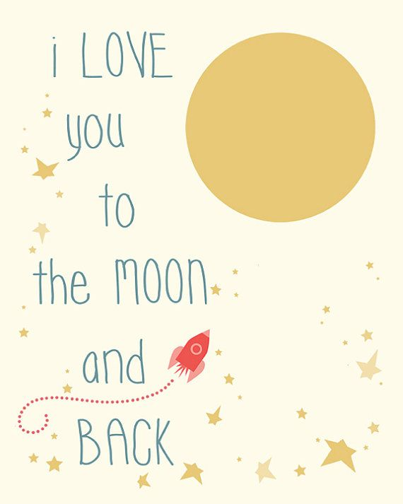 Nursery Subway Art I Love You to the Moon and Back door Fishtitch