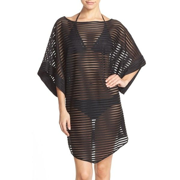 Ted Baker London Shadow Stripe Mesh Cover-Up Caftan ($165) ❤ liked on Polyvore featuring swimwear, cover-ups, black, swimsuit cover up, mesh swimsuit, sheer swim cover up, sheer swimsuit cover ups and beach cover up