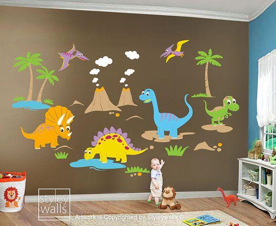 HUGE Set Dino Dinosaurs  Baby Nursery Kids Playroom by styleywalls, $210.00