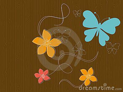 Mariposas y flores en la madera