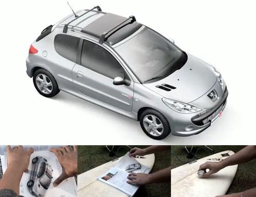 Campanha inovadora do Peugeot 207 Quiksilver. Página da revista feita de parafina. Carro para surfistas, anúncio também!