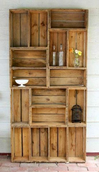 Bookcase made from old crates. Or if you're handy, make crates from pallet wood and assemble yourself