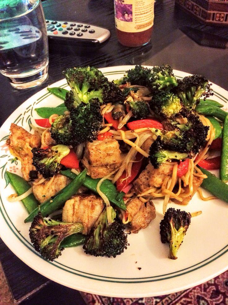 Roast belly pork and broccoli stir fry