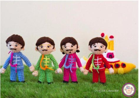 Patrón gratis amigurumi de los Beatles y el submarino amarillo