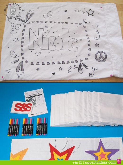 Pillow case signature craft for sleepover slumber party