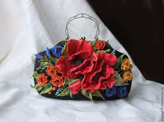 """Женские сумки ручной работы. Ярмарка Мастеров - ручная работа. Купить сумка """"МАКtime"""". Handmade. Ярко-красный, цветы, бусины"""