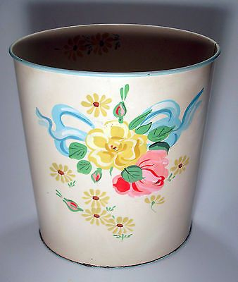 RANSBURG-TRASH-GARBAGE-CAN-VTG-HAND-PAINTED-TOLE-PAINTING-FLOWERS-WASTEBASKET