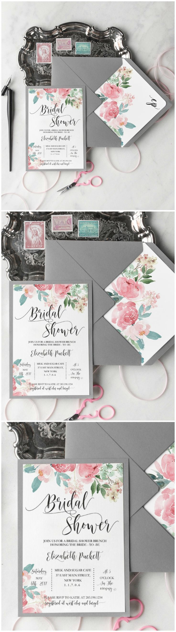 recipe themed bridal shower invitation wording%0A Bridal shower invitations with watercolor flowers