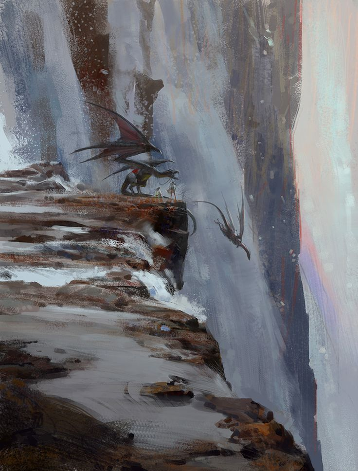 http://lingy-0.deviantart.com/art/Waterfall-dragon-rider-462841550