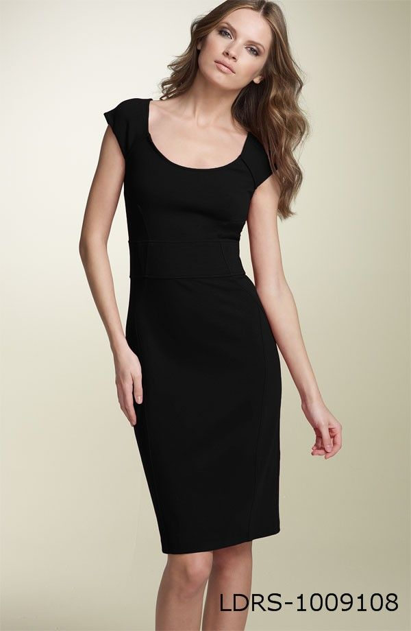 Classic Black dress. Spice it up with a statement necklace or scarf.  Make it work ready with a great custom blazer.