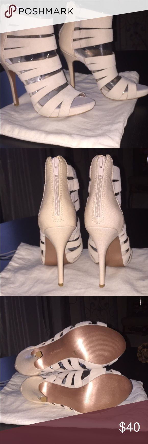 BCBG cream colored caged sandals Beautiful, brand new never worn BCBG open toe caged heels! So gorgeous!! BCBG Shoes Sandals