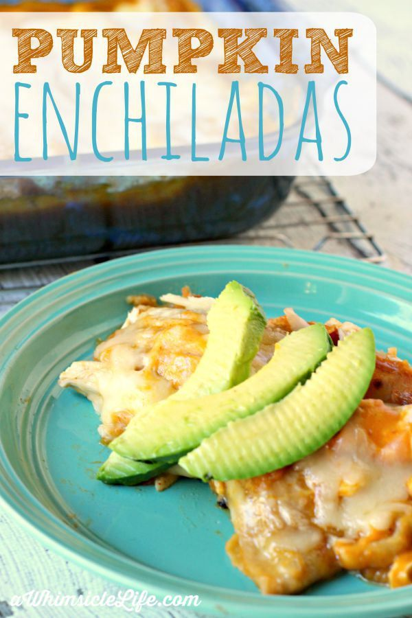 Pumpkin and enchiladas?  YES!  This is a killer recipe that preps in less than 10 minutes. Make it for dinner and have leftovers for days! Delicious, delicious leftovers.