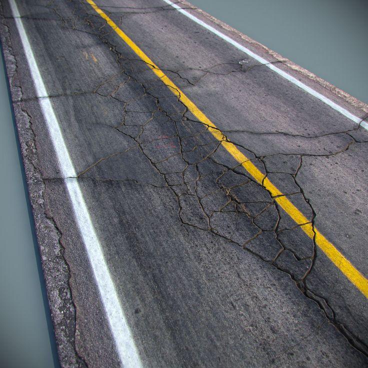 max cracked asphalt road
