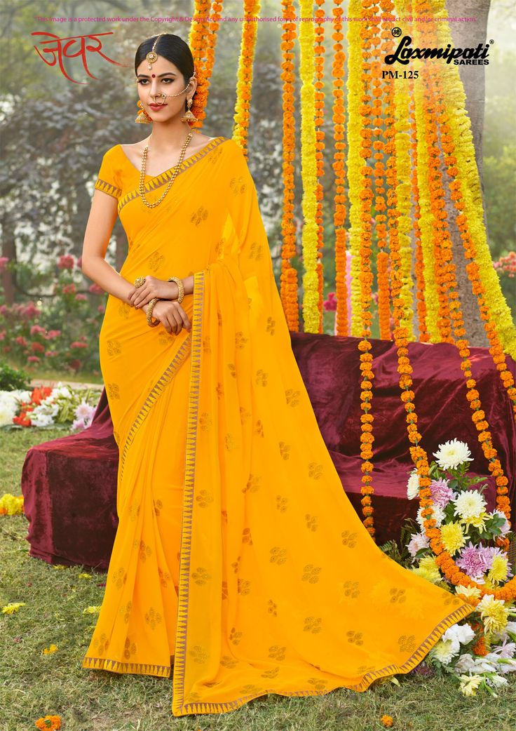Get this Impressive Yellow Colored #Georgette Resham & Stone Work #Embroidery_Saree and Yellow Bhagalpuri Silk Blouse along with Fancy Border from #Laxmipati_Sarees. #Catalogue- #Zever Design number- Zever 125 #Price -₹ 3083.00