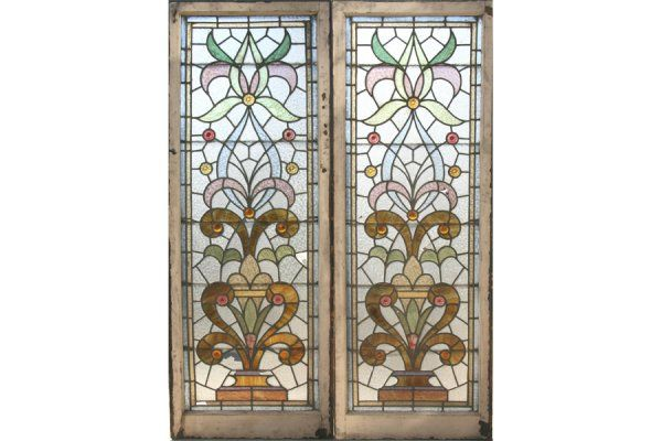2 ANTIQUE STAINED GLASS WINDOWS