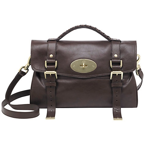 Mulberry Alexa Leather Messenger & Shoulder Handbag in Chocolate