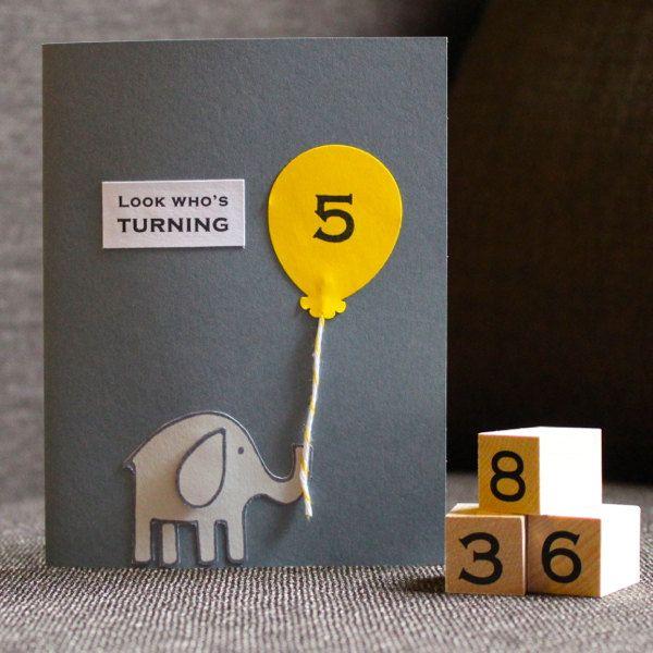 Kids Birthday Card customizable age  Elephant by HandmadesRovena, $4.95