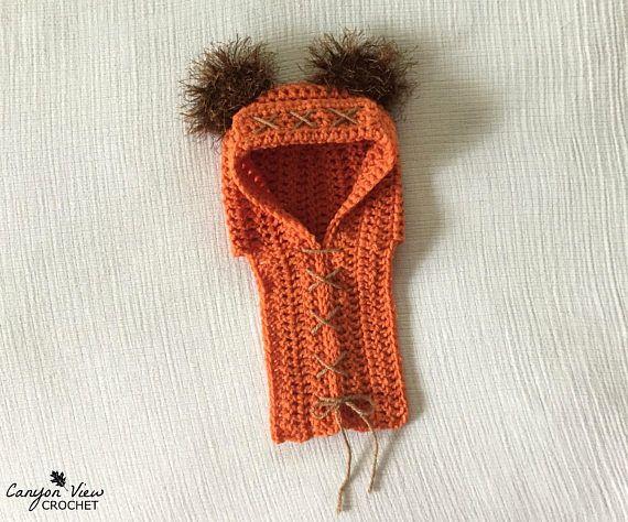 Baby Ewok Hood Crochet Baby Halloween Costume Newborn Costume Star Wars  #canyonviewcrochet www.CanyonViewCrochet.etsy.com