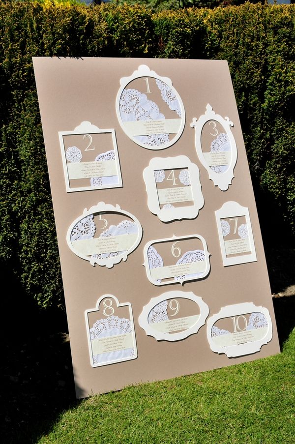 Wedding Table Plan with Lace Effect Cut-outs