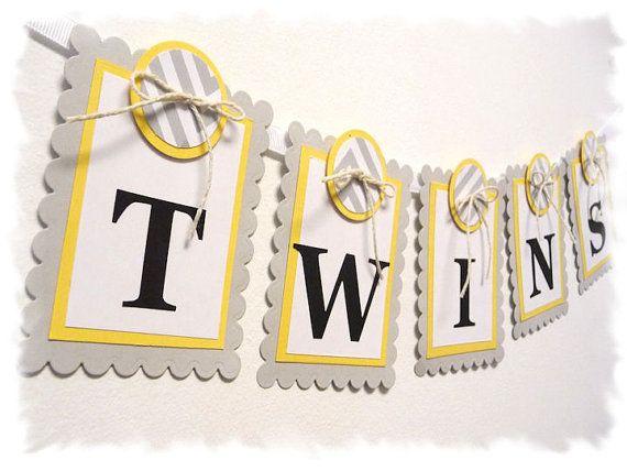 TWINS Baby Shower Banner Nursery Banner Soft by AspenArtsStudio