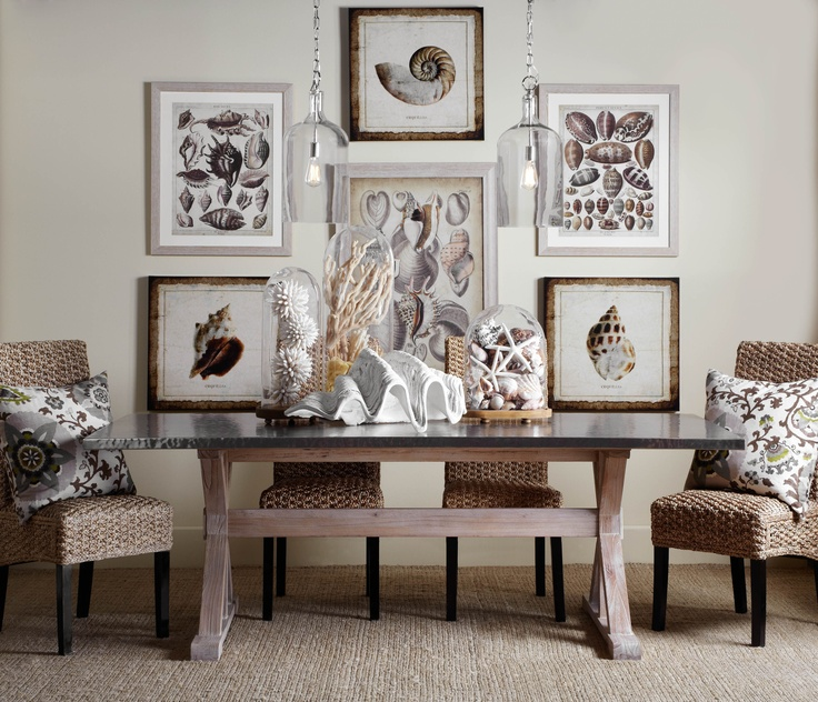 Savor the summer with a collected coastal dining style that can transition to fall.Dining Room, Beach House, Chic Furniture, Clams Shells, Beach Decor, Diningroom, Beach Theme, Gallery Wall, Dining Tables