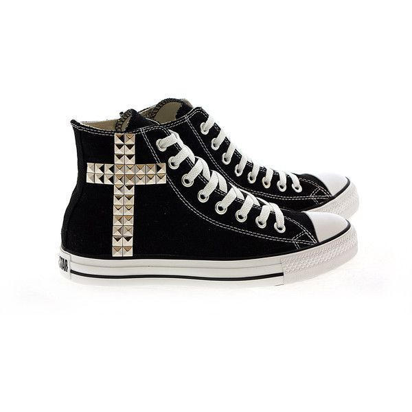 Studded Converse Silver Cross pattern studs with converse Black high top by CUSTOMDUO ($110) found on Polyvore