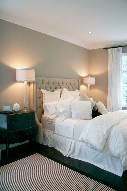"""love the wall paint: Benjamin Moore Pashmina AF-100. (Paint our lamps and add new shades similar to these and make """"wingback"""" tufted headboard, dark wood floors and dark side table.)"""