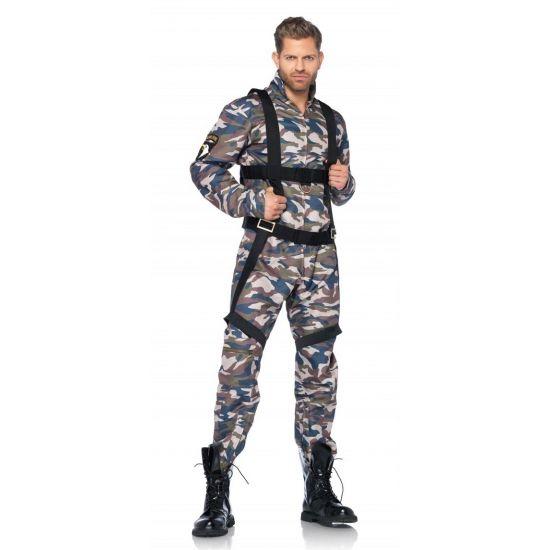 Leger parachutist kostuum. Dit luxe leger parachutist kostuum bestaat uit een camouflage vlucht pak en een harnas. Dit soldatenpak is gemaakt van 100% polyester. Luxe kwaliteit. Wasbaar op 30 graden. Carnavalskleding 2015 #carnaval