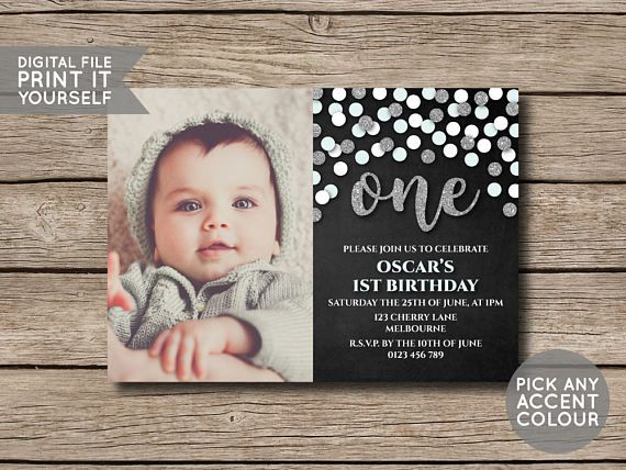 DIGITAL FILE  First Birthday Invite Invitation by shopmarigoldlane