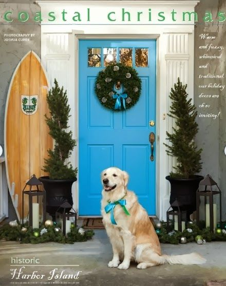 Beautiful Christmas Front Doors with a Nautical and Coastal Theme.