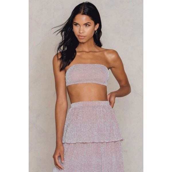 NA-KD Party Sparkle Bandeau Top ($21) ❤ liked on Polyvore featuring tops, pink, pink sparkly top, bandeau top, pink top, pink going out tops and night out tops