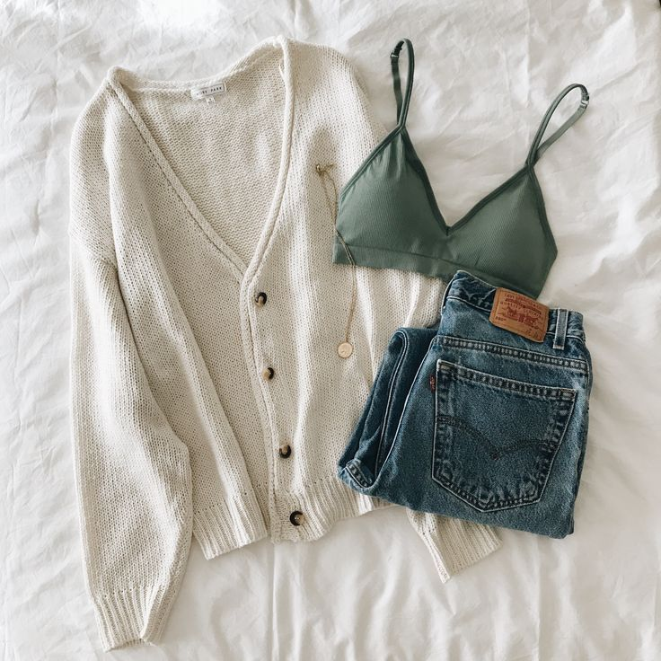 Shop the Colette Cardigan and Rumi Bralette in Sage.