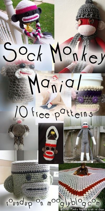 Sock Monkeys have taken over! Get all the best sock monkey patterns at mooglyblog.com!