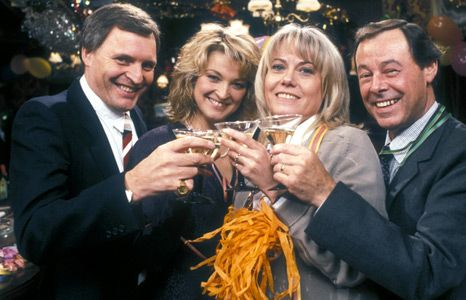 Pete and Kathy Beale, Pauline and Arthur Fowler (Peter Dean, Gillian Taylforth, Wendy Richards, Bill Treacher)
