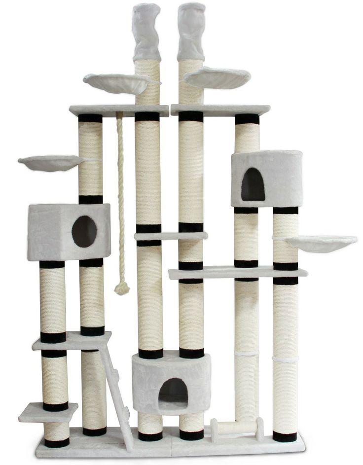 Kratzbaum New York, extra stabil, deckenhoch 14cm dicke Säulen Katzenkratzbaum | eBay