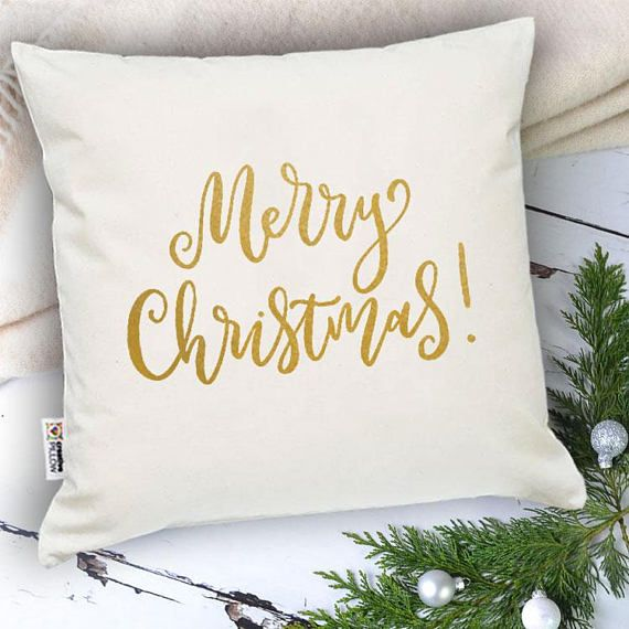 Merry throw pillow Calligraphy pillow Holiday lumbar pillow Gift for Boyfriend pillow Gold Xmas pillow Merry pillow Merry Xmas gift for her  One pillowcase or pillowcase + insert (your choice)  Pillow size is 16 x 16 inches (40 x 40 cm)  Christmas Eve surprise at its finest! The most