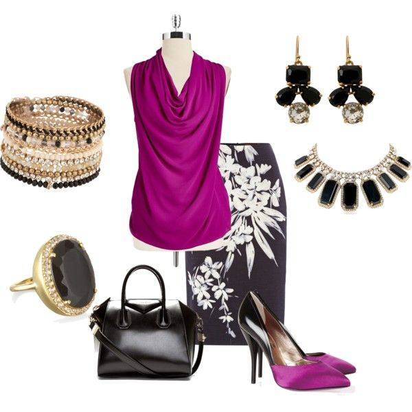 Radiant orchid work outfit. Over 40 fashion.