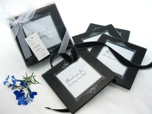 """''Memories Forever"""" Glass Photo Coaster in Black (Set of 4)"""