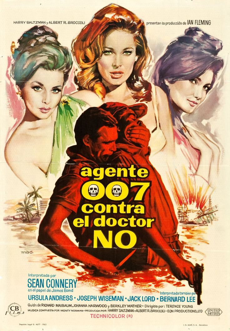 "Spanish poster for DR. NO (Terence Young, UK, 1962). Artist: Macario ""Mac"" Gómez Poster source: Heritage Auctions"
