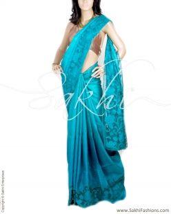 Blue Pure Tussar Silk Saree