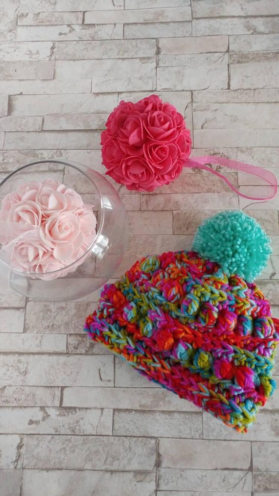 Bobble Knit Baby Beanie,  pompom, newborn size,  Great for Baby shower Gifts,Winter hat, spring hat, Warm ears
