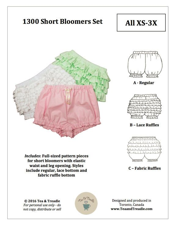 PDF Lolita Sewing Pattern  1300 Short Bloomer Set Sizes XS-3X