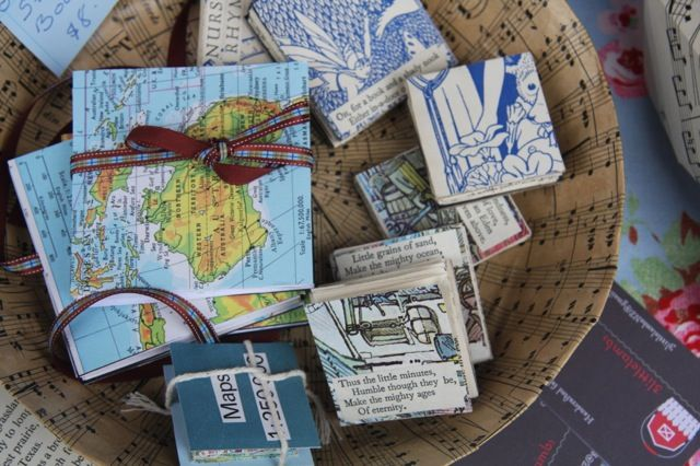 Star Books made from old books of poems, old maps or blank for journaling.