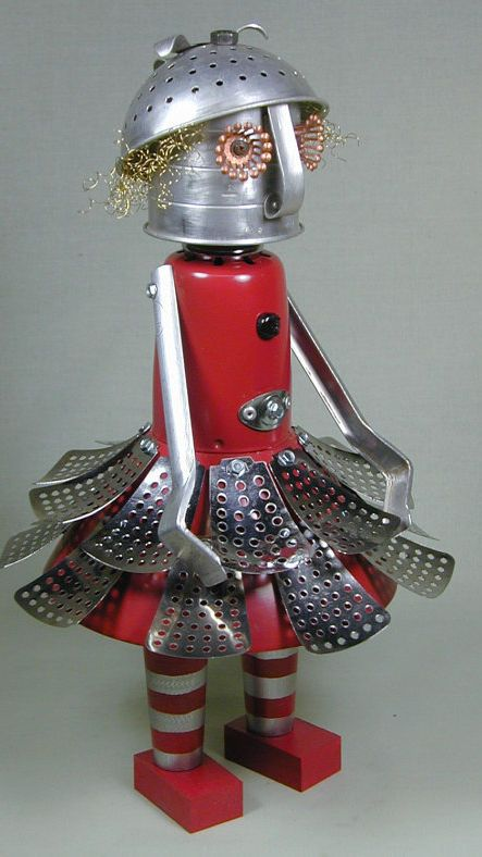 Found Object Robot Sculpture folk art sci fi metal recycled repurposed Sally Colby