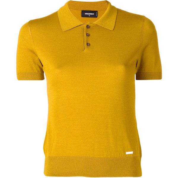 Dsquared2 knitted polo shirt featuring polyvore, women's fashion, clothing, tops, yellow, button front top, yellow top, mustard ribbed top, yellow polo shirt and polo collar shirts